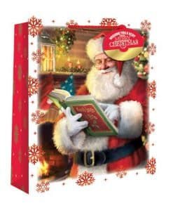 Medium Traditional Santa Snowscene Christmas Gift Bag