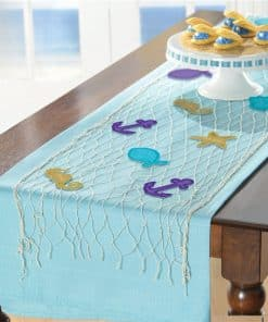 Mermaid Wishes Party Fish Net Table Runner