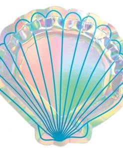 Mermaid Wishes Party Iridescent Shell Shaped Plates