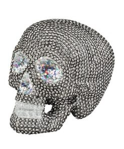 Sparkly Silver Skull Table Decoration