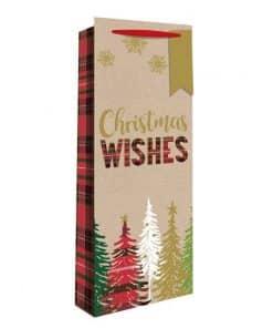 Tartan Christmas Tree Christmas Bottle Bag