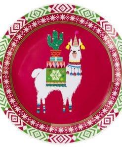 Fiestive Llama Christmas Plates - 23cm