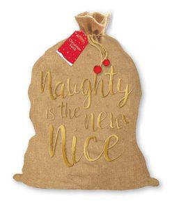 Hessian Christmas Sack - Naughty is the New Nice