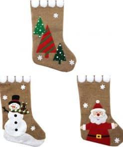 Hessian Christmas Stocking with Pom Poms