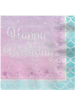Mermaid Shine 'Happy Birthday' Paper Napkins