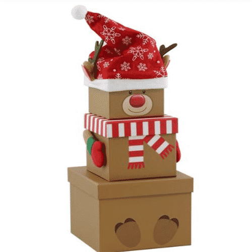 Christmas Boxes.Reindeer Christmas Stacking Gift Box 35cm