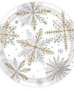 Let It Snow Shining Snow Paper Plates