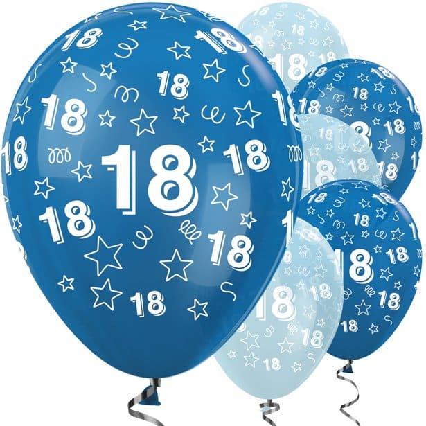 18th Birthday Blue Mix Stars Balloons