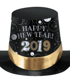 2019 New Years Prismatic Top Hat - Black, Silver and Gold