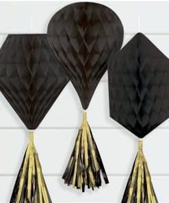 Black Mini Honeycombs with Tassels