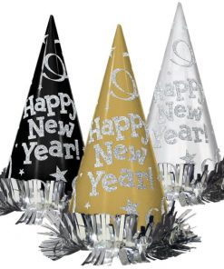 Black, Silver, Gold Happy New Year Cone Hats