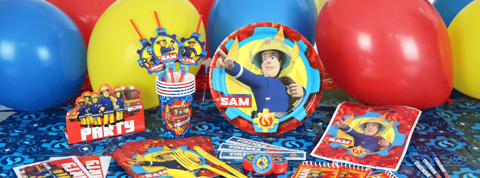 Fireman Sam themed party supplies, fireman decorations & balloons next day delivery