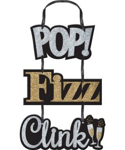 "Glitter ""Pop Fizz Clink"" Hanging Sign - 38cm"