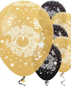 Gold & Black New Year Balloons - 12