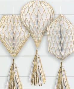 Gold Glitter Mini Honeycombs with Tassels Decoration