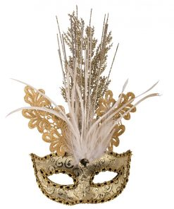 Gold Masquerade Mask with Sequins, Glitter & Feathers