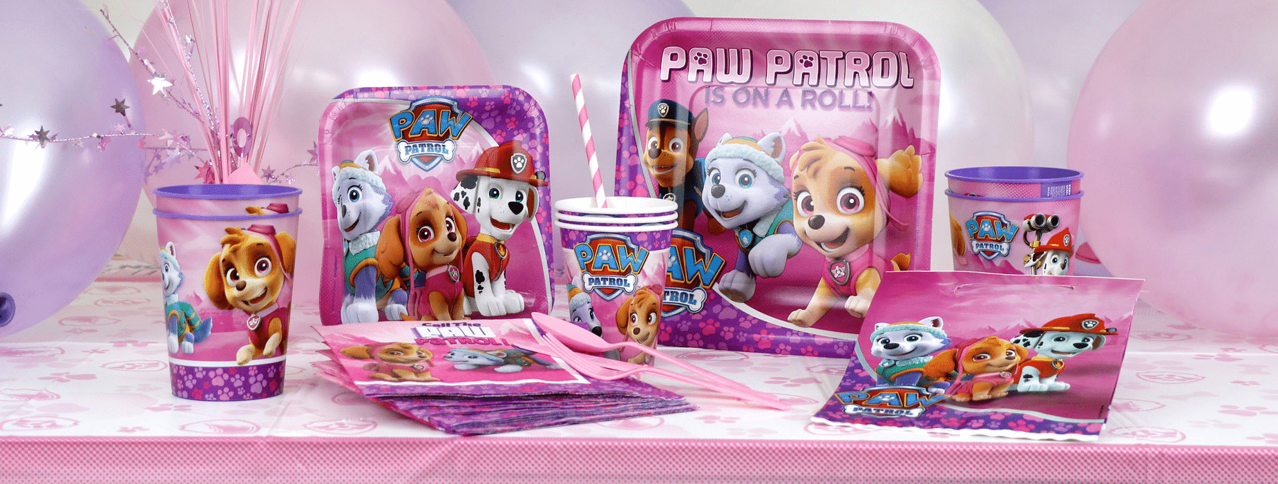 Paw Patrol Pink themed party supplies, Paw Patrol Party decorations & balloons next day delivery