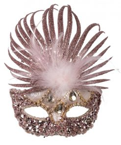 Pink Masquerade Mask with Sequins, Glitter & Feathers