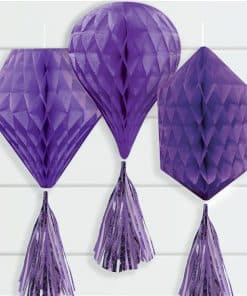 Purple Mini Honeycombs with Tassels Decoration