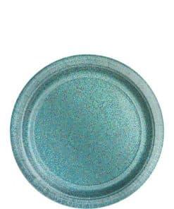 Robin's Egg Blue Prismatic Paper Plates
