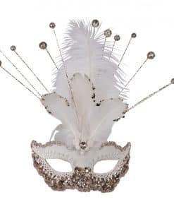 White Masquerade Mask with Sequins, Glitter & Feathers