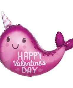 Valentine Narwhal Foil Balloon