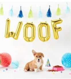 Gold Woof Foil Balloon Kit