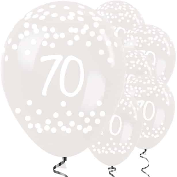 70th Birthday Clear Dots Balloons