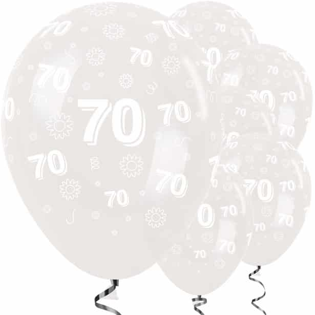 70th Birthday Clear Flowers Balloons