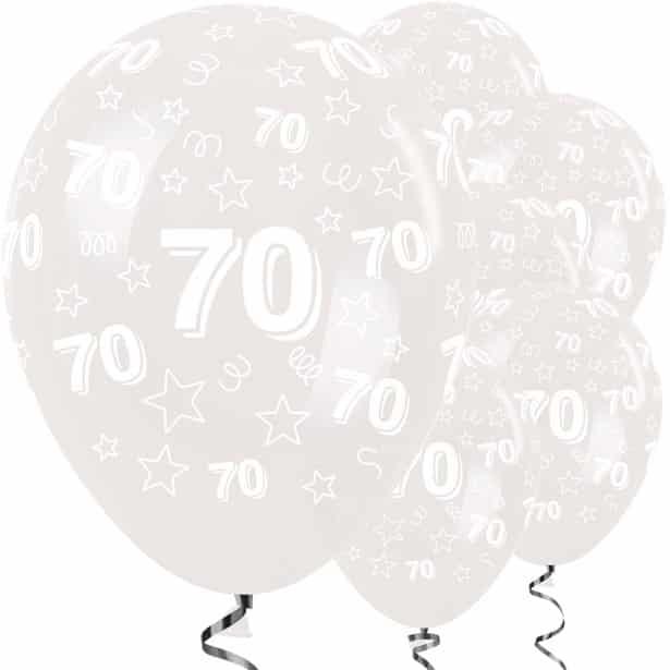70th Birthday Clear Stars Balloons