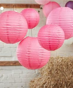 Boho Wedding Hot Pink Paper Lanterns