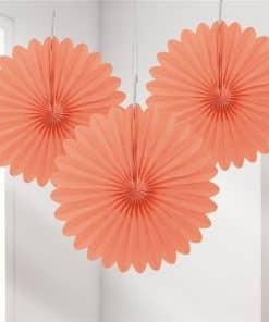 Coral Mini Paper Fan Decorations