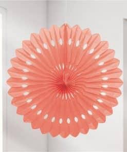Coral Paper Fan Decoration - 41cm