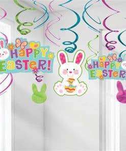 Happy Easter Hanging Swirl Decorations