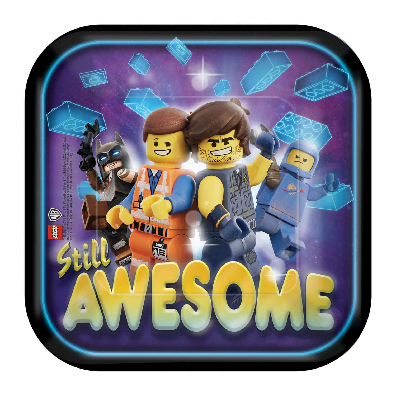 Lego Movie 2 Party Square Paper Plates - 18cm (Pk 8)