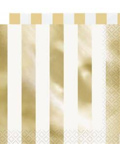 Metallic Gold Stripe Paper Napkins