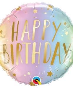 Pastel Ombre & Stars Birthday Balloon