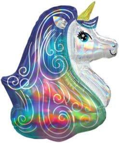 Rainbow Unicorn Iridescent Supershape Balloon