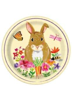 Floral Bunny Paper Dessert Plate