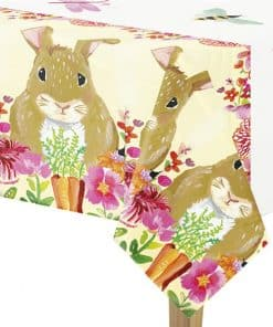 Floral Bunny Plastic Tablecover