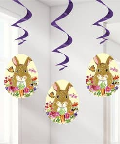 Floral Easter Bunny Hanging Swirl