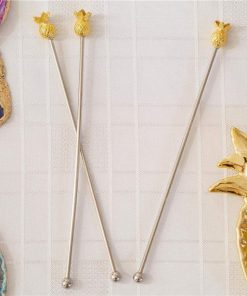 Gold Metal Pineapple Drink Stirrers