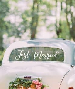 Gold Wedding Just Married Car Sticker