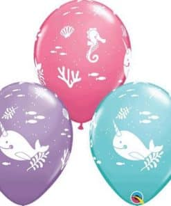 Narwhal Under The Sea Assorted Latex Balloons