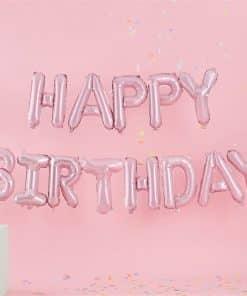 Pastel Pink 'Happy Birthday' Balloon Bunting