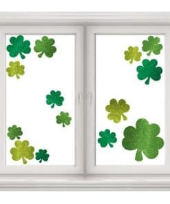 St Patrick's Day Glitter Shamrock Window Decorations