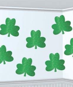St Patrick's Day Shamrock Glitter Cutouts