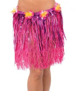 Adult Hula Pink Tinsel Grass Skirt