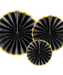 Black & Gold Paper Fans