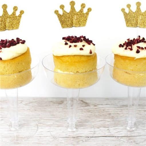 Crown Gold Glitter Cake Topper